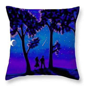 Moonlight Walk Throw Pillow