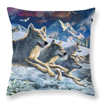 Moonlight Wolfpack Throw Pillow by Adrian Chesterman