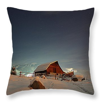 Moonlit Barn Throw Pillow by Matt Helm
