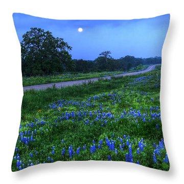 Moonlit Bluebonnets Throw Pillow by Tom Weisbrook