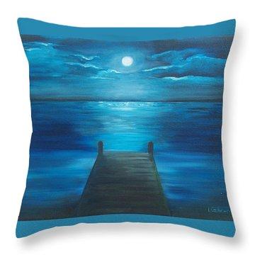 Moonlit Dock Throw Pillow by Linda Cabrera