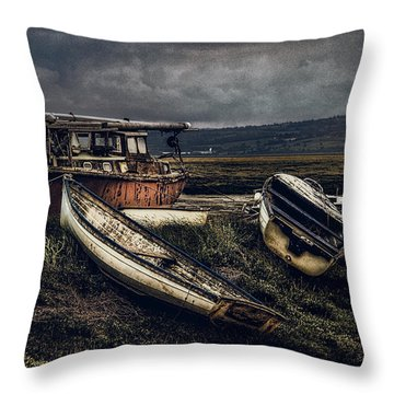 Moonlit Estuary Throw Pillow