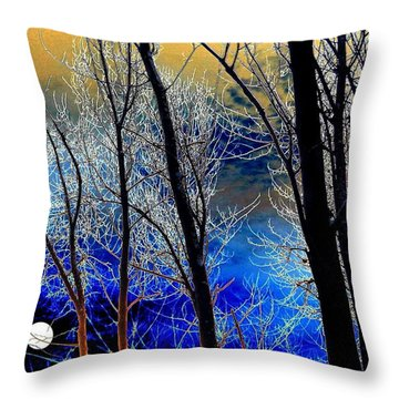 Moonlit Frosty Limbs Throw Pillow