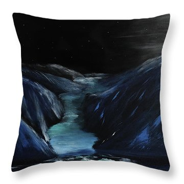 Moonlit Glacier Throw Pillow