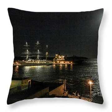 Moonlit Harbour Throw Pillow