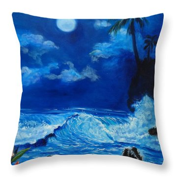 Moonlit Hawaiian Night Throw Pillow