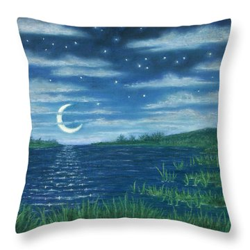 Moonlit Lagoon Throw Pillow