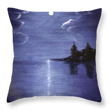 Moonlit Lake Throw Pillow by Judy Hall-Folde