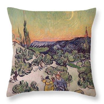 Moonlit Landscape Throw Pillow by Vincent Van Gogh