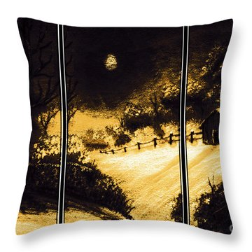 Moonlit Night Triptych Throw Pillow by Barbara Griffin