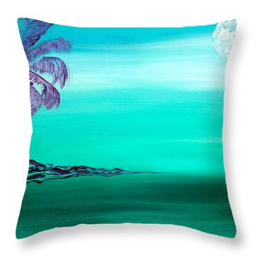 Moonlit Palm Throw Pillow