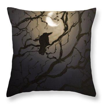 Moonlit Perch Throw Pillow