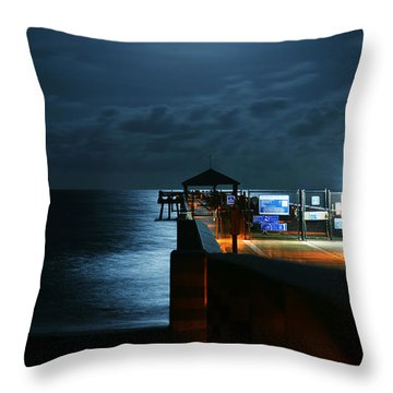 Throw Pillow featuring the photograph Moonlit Pier by Laura Fasulo