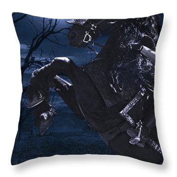 Moonlit Warrior Throw Pillow