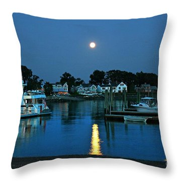Moonlit Waters - Super Moon 2014 Throw Pillow by Judy Palkimas