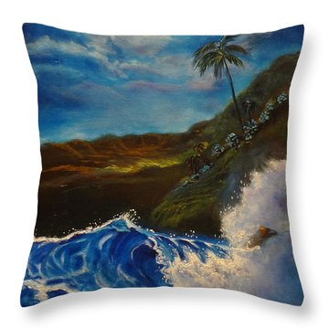 Throw Pillow featuring the painting Moonlit Wave 11 by Jenny Lee
