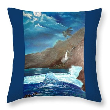 Throw Pillow featuring the painting Moonlit Wave by Jenny Lee