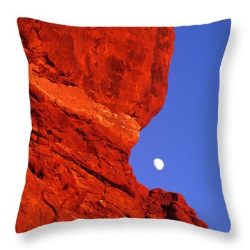 Throw Pillow featuring the photograph Moonrise Balanced Rock Arches National Park Utah by Dave Welling
