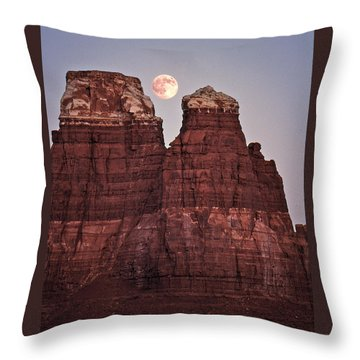 Throw Pillow featuring the photograph Moonrise In Utah by Christopher McKenzie