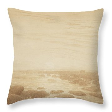 Moonrise On The Sea Throw Pillow by Caspar David Friedrich