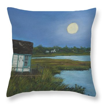 Throw Pillow featuring the painting Moonrise Orient Point by Susan Herbst