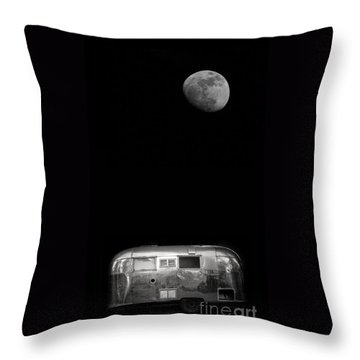 Moonrise Over Airstream Throw Pillow