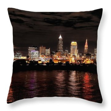 Moonrise Over Cleveland Skyline Throw Pillow