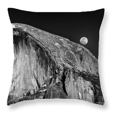 Moonrise Over Half Dome Throw Pillow