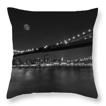 Moonrise Over Manhattan Bw Throw Pillow