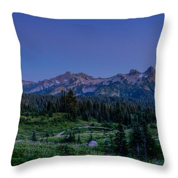 Moonrise Over Tatoosh Throw Pillow by Chris McKenna