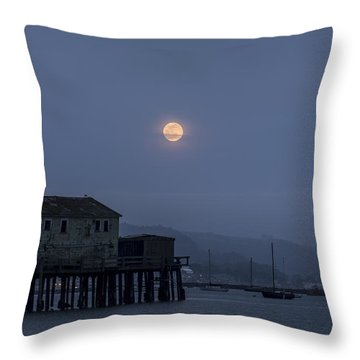 Moonrise Over The Harbor Throw Pillow