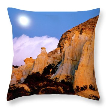 Moonrise Over The Kaiparowits Plateau Utah Throw Pillow by Ed  Riche