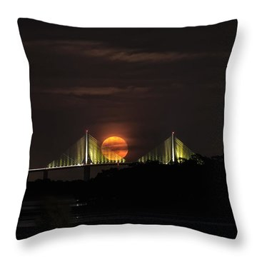 Moonrise Over The Skyway Bridge Throw Pillow by Michael White