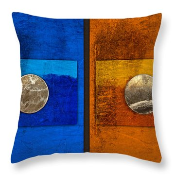 Moons On Blue And Gold Throw Pillow by Carol Leigh