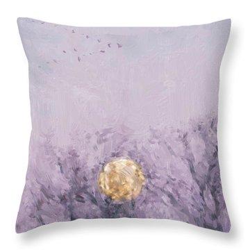 Moonset Dawn Throw Pillow