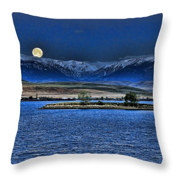 Moonset Over Cooney Throw Pillow