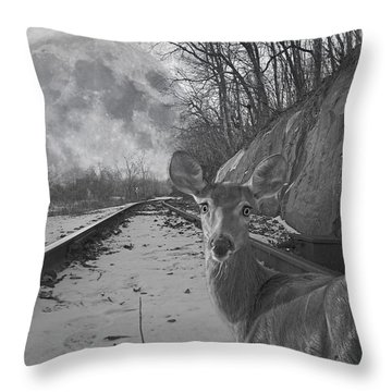 Moonshine Deer Tracks Throw Pillow