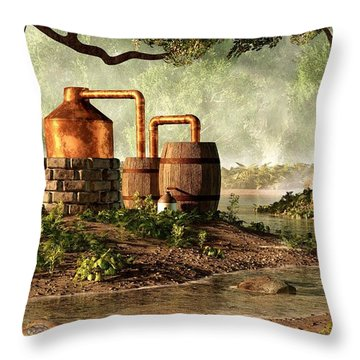 Moonshine Still 1 Throw Pillow