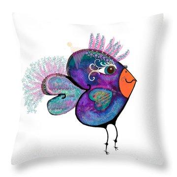 Moonworld Series - Love Bird Throw Pillow by Moon Stumpp