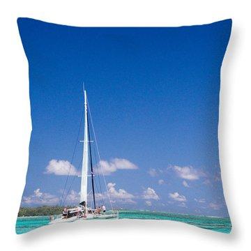 Moorea Lagoon No 4 Throw Pillow by David Smith