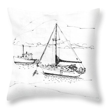 Moored Boats Monhegan Island Throw Pillow