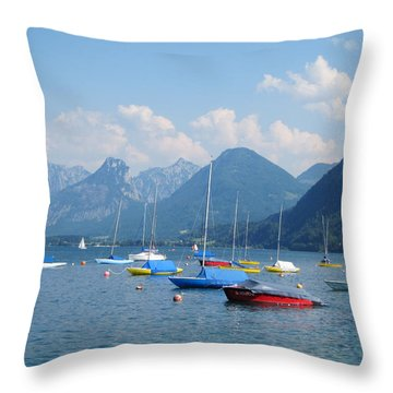 Throw Pillow featuring the photograph Moored Boats by Pema Hou