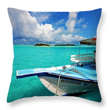 Moored Dhoni At Sun Island. Maldives Throw Pillow