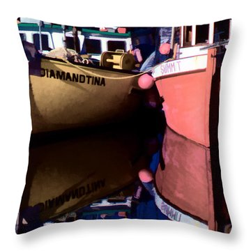 Moored Fishing Boats Throw Pillow