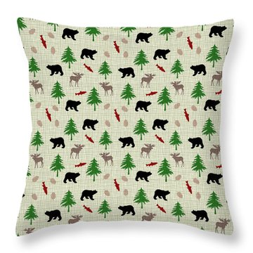 Moose And Bear Pattern Throw Pillow