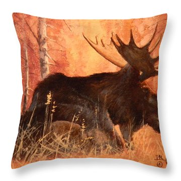 Moose At Rest Throw Pillow