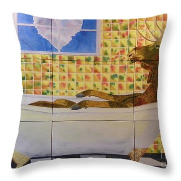 Moose Bath II Throw Pillow