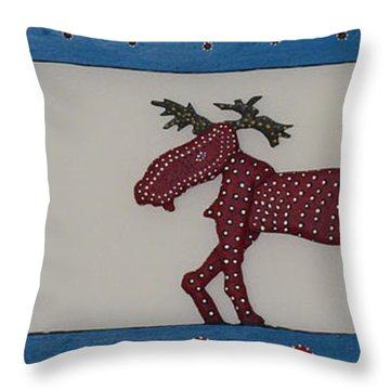 Throw Pillow featuring the sculpture Moose Coming Home For Christmas by Robert Margetts