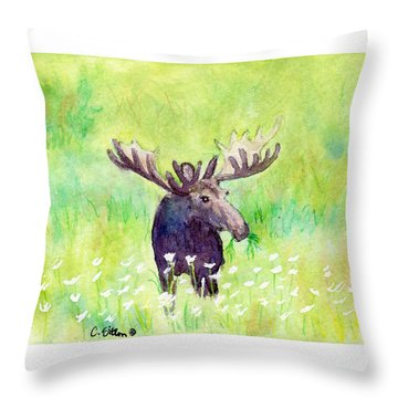 Moose In Flowers Throw Pillow