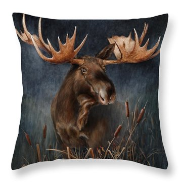Moose In The Mist Throw Pillow